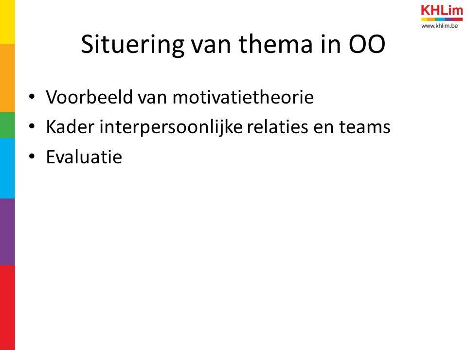 Situering van thema in OO Voorbeeld van motivatietheorie Kader interpersoonlijke relaties en teams Evaluatie