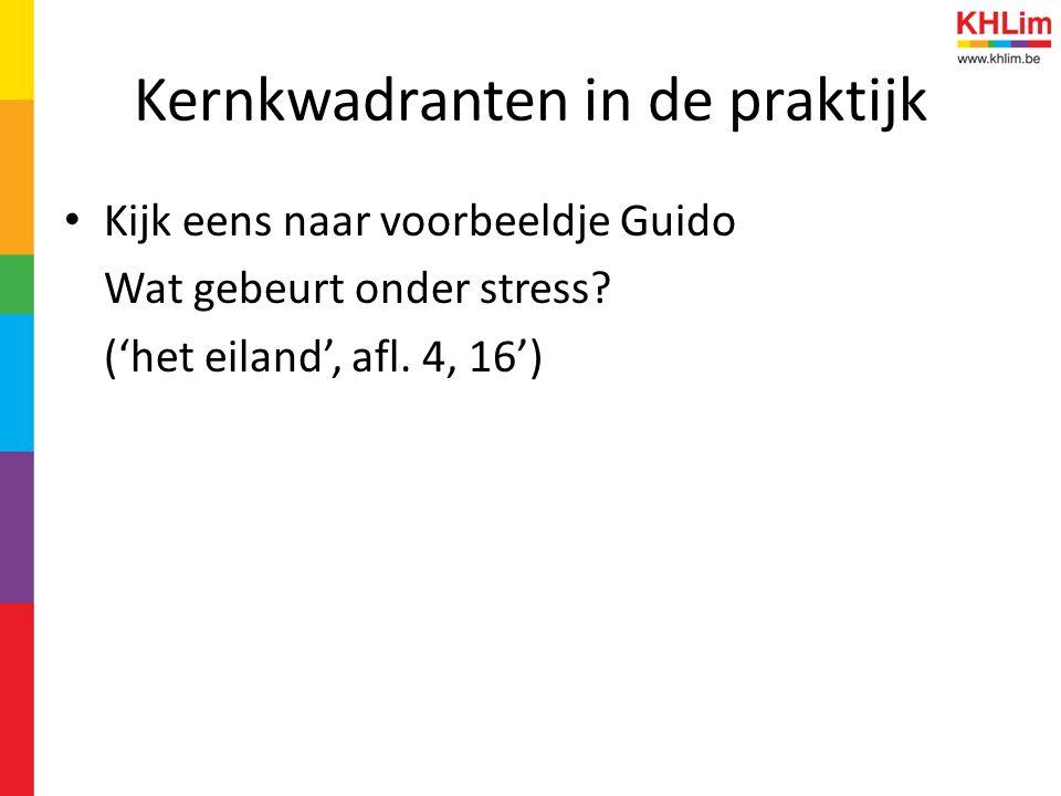 Kernkwadranten in de praktijk Kijk eens naar voorbeeldje Guido Wat gebeurt onder stress? ('het eiland', afl. 4, 16')
