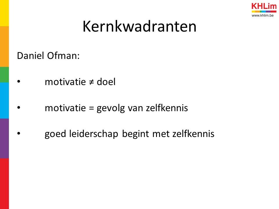 Kernkwadranten Daniel Ofman: motivatie ≠ doel motivatie = gevolg van zelfkennis goed leiderschap begint met zelfkennis
