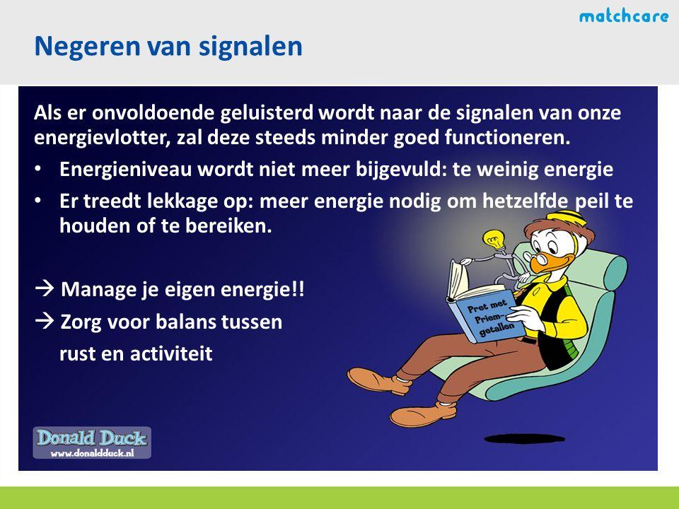 Als er onvoldoende geluisterd wordt naar de signalen van onze energievlotter, zal deze steeds minder goed functioneren.