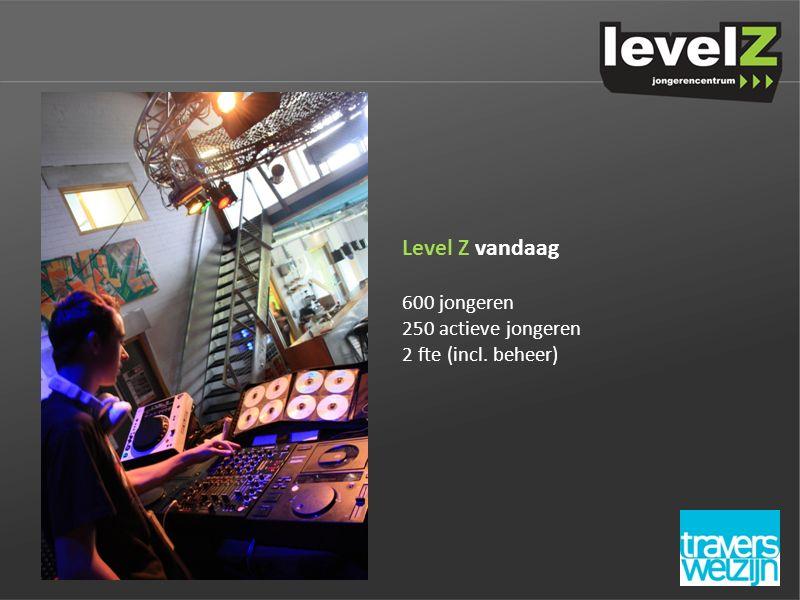 Level Z vandaag 600 jongeren 250 actieve jongeren 2 fte (incl. beheer)