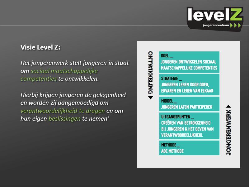 Visie Level Z: Het jongerenwerk stelt jongeren in staat om sociaal maatschappelijke competenties te ontwikkelen.