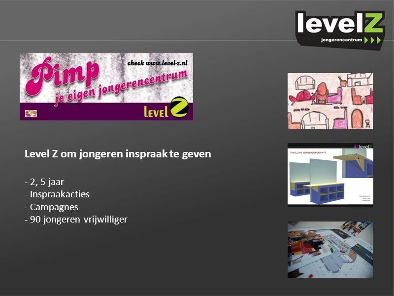 Level Z om jongeren inspraak te geven - 2, 5 jaar - Inspraakacties - Campagnes - 90 jongeren vrijwilliger