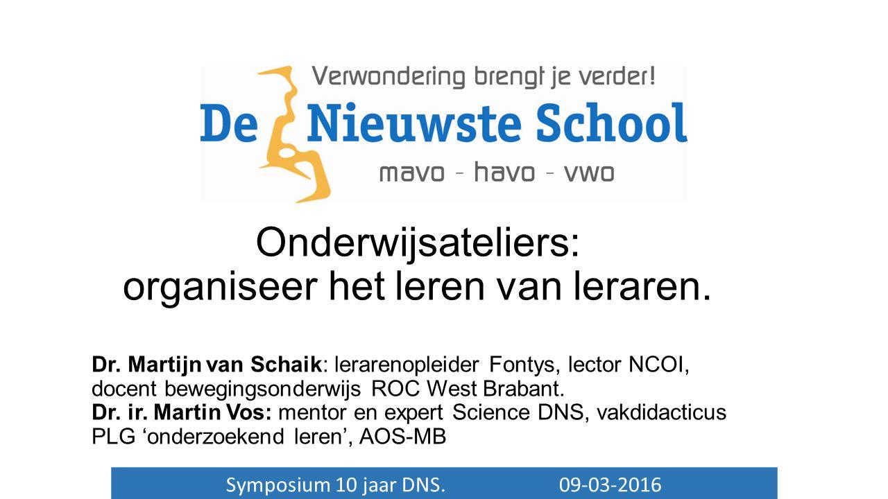 Symposium 10 jaar DNS. 09-03-2016 Onderwijsateliers: organiseer het leren van leraren.