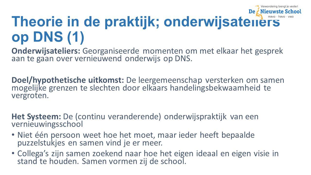 Theorie in de praktijk; onderwijsateliers op DNS (1) Onderwijsateliers: Georganiseerde momenten om met elkaar het gesprek aan te gaan over vernieuwend onderwijs op DNS.