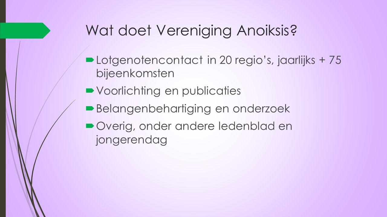 Wat doet Vereniging Anoiksis?  Lotgenotencontact in 20 regio's, jaarlijks + 75 bijeenkomsten  Voorlichting en publicaties  Belangenbehartiging en o