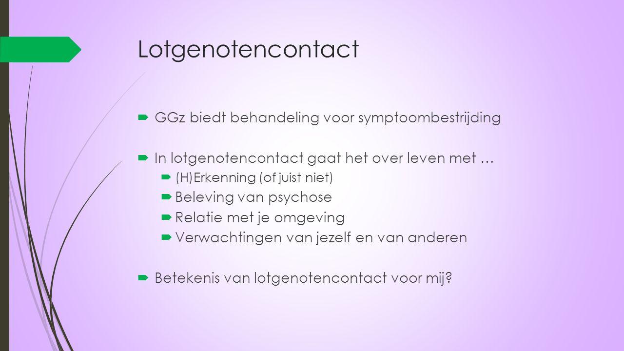 Lotgenotencontact  GGz biedt behandeling voor symptoombestrijding  In lotgenotencontact gaat het over leven met …  (H)Erkenning (of juist niet)  B