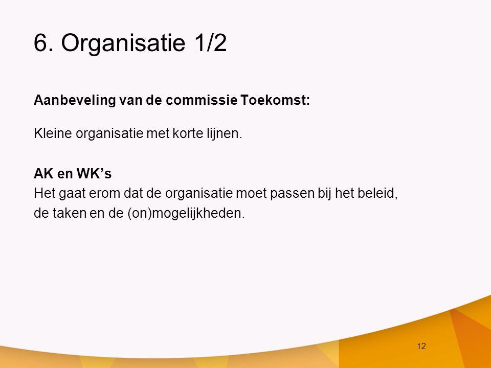12 6. Organisatie 1/2 Aanbeveling van de commissie Toekomst: Kleine organisatie met korte lijnen. AK en WK's Het gaat erom dat de organisatie moet pas
