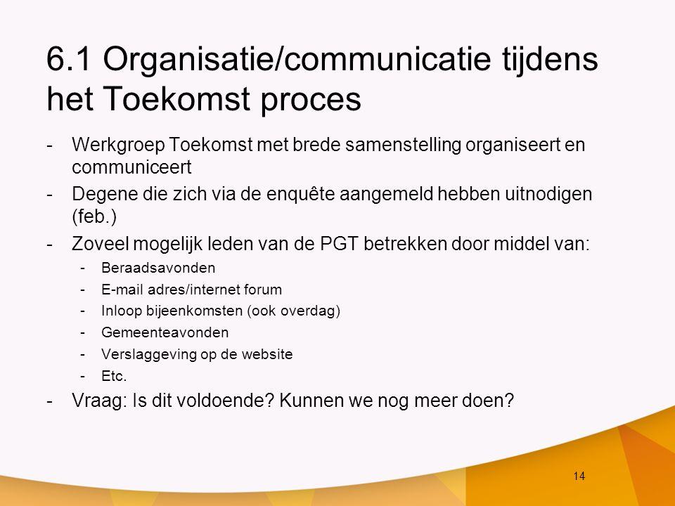14 6.1 Organisatie/communicatie tijdens het Toekomst proces -Werkgroep Toekomst met brede samenstelling organiseert en communiceert -Degene die zich via de enquête aangemeld hebben uitnodigen (feb.) -Zoveel mogelijk leden van de PGT betrekken door middel van: -Beraadsavonden -E-mail adres/internet forum -Inloop bijeenkomsten (ook overdag) -Gemeenteavonden -Verslaggeving op de website -Etc.