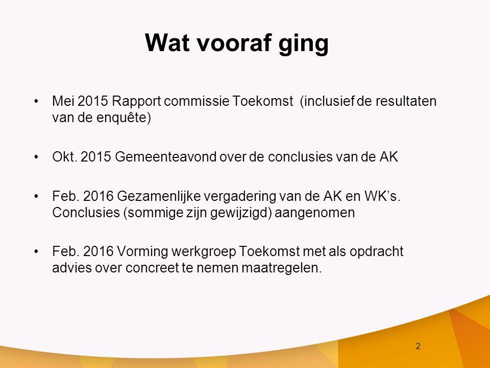 2 Wat vooraf ging Mei 2015 Rapport commissie Toekomst (inclusief de resultaten van de enquête) Okt. 2015 Gemeenteavond over de conclusies van de AK Fe