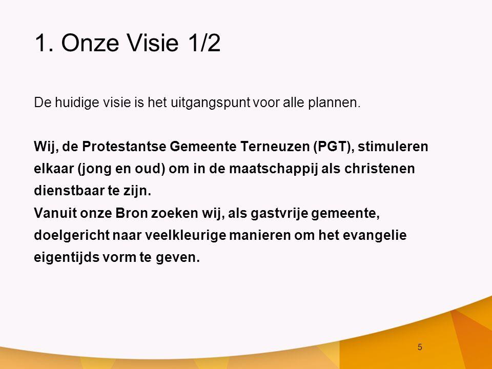 5 1. Onze Visie 1/2 De huidige visie is het uitgangspunt voor alle plannen. Wij, de Protestantse Gemeente Terneuzen (PGT), stimuleren elkaar (jong en