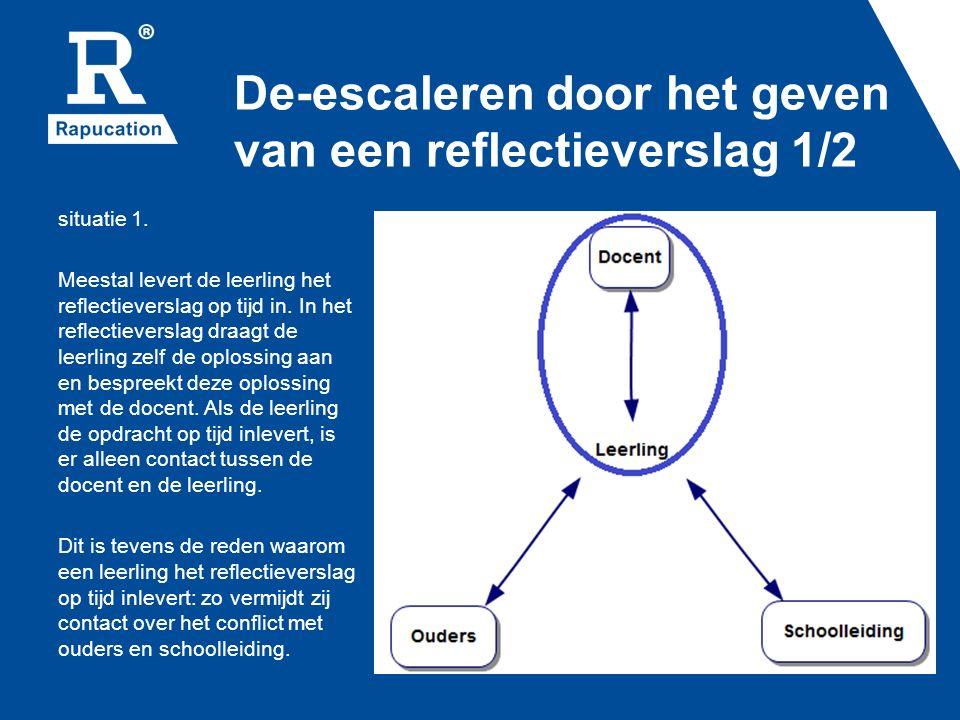De-escaleren door het geven van een reflectieverslag 1/2 situatie 1. Meestal levert de leerling het reflectieverslag op tijd in. In het reflectieversl