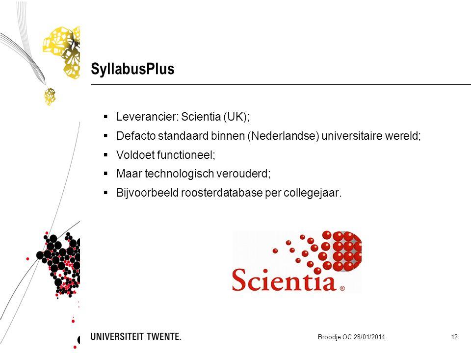 SyllabusPlus  Leverancier: Scientia (UK);  Defacto standaard binnen (Nederlandse) universitaire wereld;  Voldoet functioneel;  Maar technologisch verouderd;  Bijvoorbeeld roosterdatabase per collegejaar.