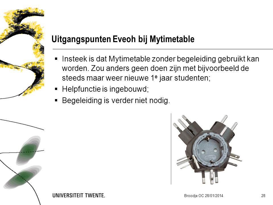 Broodje OC 28/01/2014 28 Uitgangspunten Eveoh bij Mytimetable  Insteek is dat Mytimetable zonder begeleiding gebruikt kan worden.