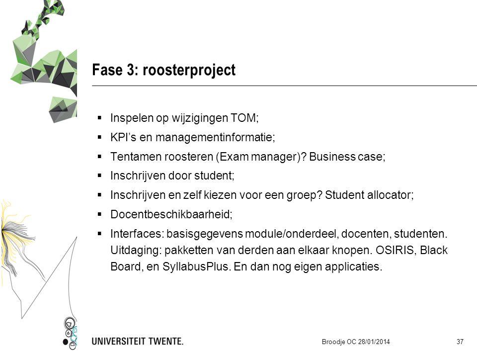 Fase 3: roosterproject  Inspelen op wijzigingen TOM;  KPI's en managementinformatie;  Tentamen roosteren (Exam manager)? Business case;  Inschrijv