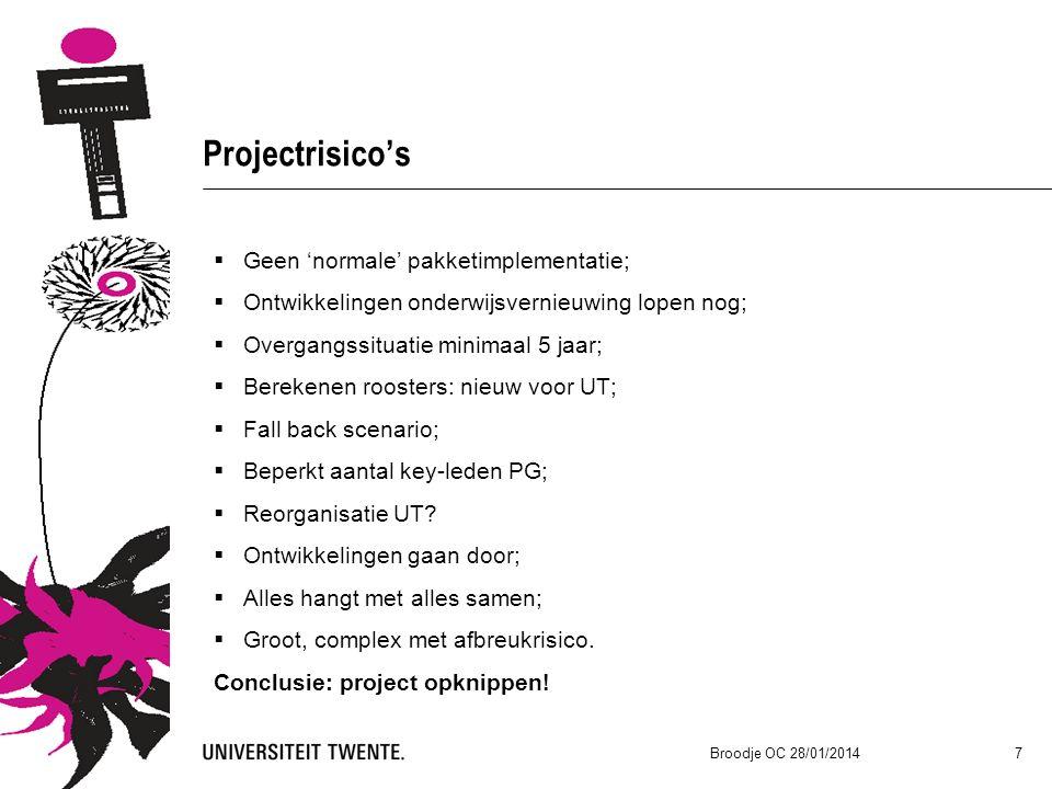 Projectrisico's  Geen 'normale' pakketimplementatie;  Ontwikkelingen onderwijsvernieuwing lopen nog;  Overgangssituatie minimaal 5 jaar;  Berekenen roosters: nieuw voor UT;  Fall back scenario;  Beperkt aantal key-leden PG;  Reorganisatie UT.