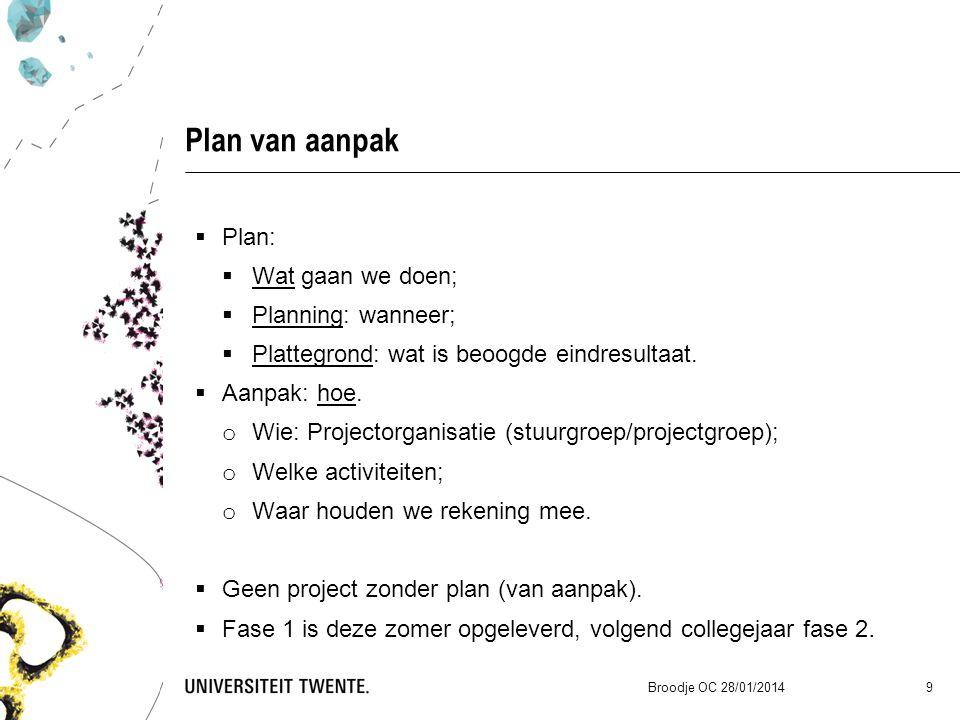Plan van aanpak  Plan:  Wat gaan we doen;  Planning: wanneer;  Plattegrond: wat is beoogde eindresultaat.  Aanpak: hoe. o Wie: Projectorganisatie