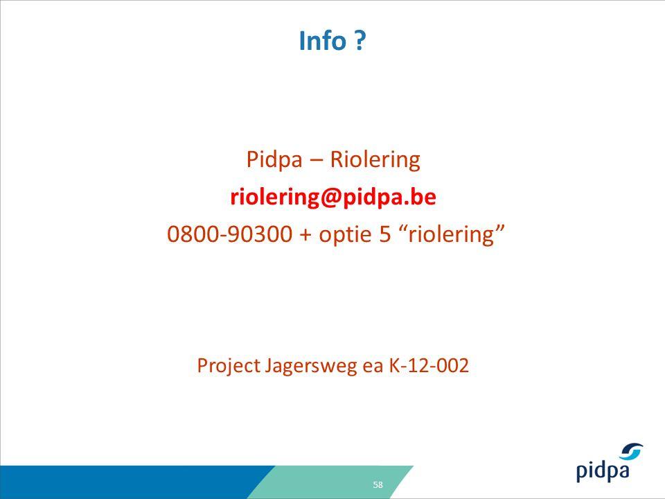 58 Pidpa – Riolering riolering@pidpa.be 0800-90300 + optie 5 riolering Project Jagersweg ea K-12-002 Info
