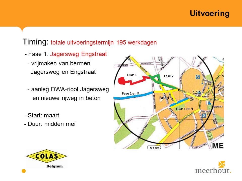 Uitvoering Timing: totale uitvoeringstermijn 195 werkdagen - Fase 1: Jagersweg Engstraat - vrijmaken van bermen Jagersweg en Engstraat - aanleg DWA-riool Jagersweg en nieuwe rijweg in beton - Start: maart - Duur: midden mei
