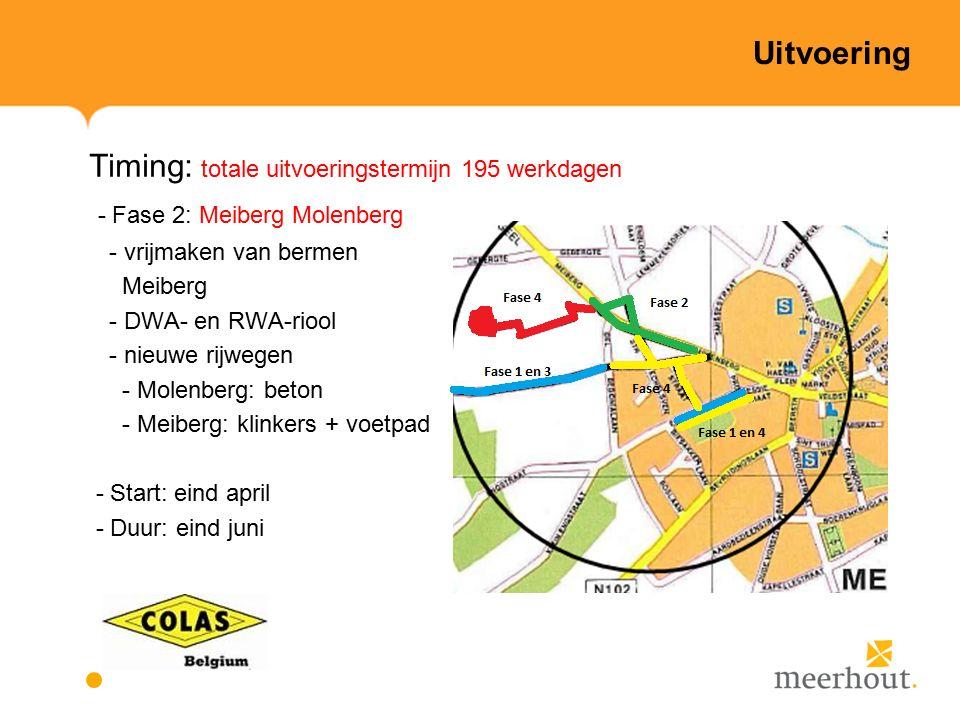 Uitvoering Timing: totale uitvoeringstermijn 195 werkdagen - Fase 2: Meiberg Molenberg - vrijmaken van bermen Meiberg - DWA- en RWA-riool - nieuwe rijwegen - Molenberg: beton - Meiberg: klinkers + voetpad - Start: eind april - Duur: eind juni