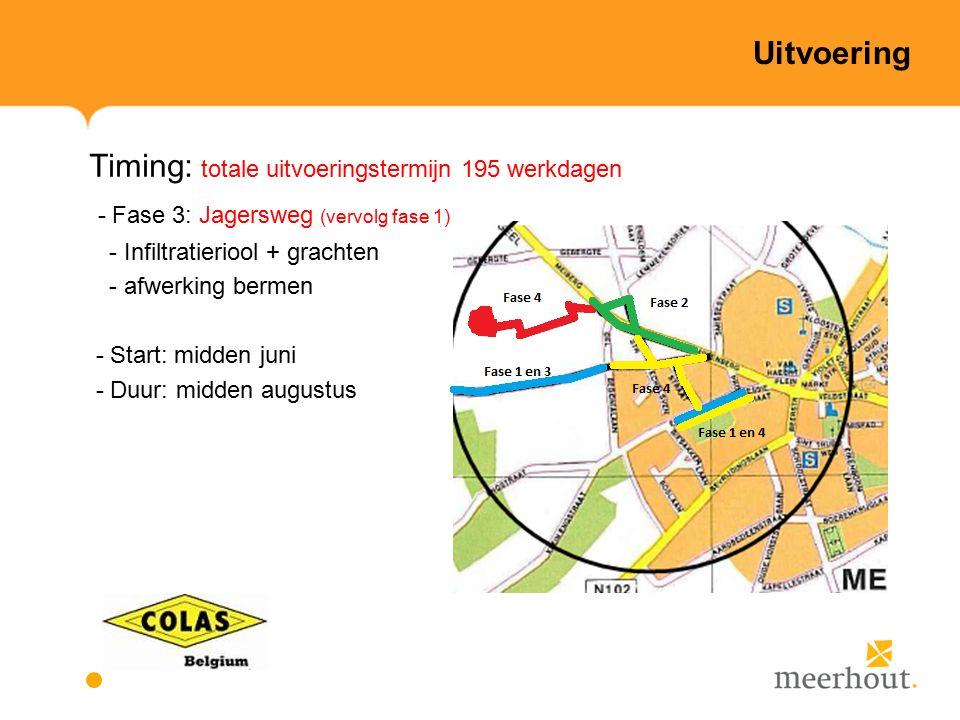 Uitvoering Timing: totale uitvoeringstermijn 195 werkdagen - Fase 3: Jagersweg (vervolg fase 1) - Infiltratieriool + grachten - afwerking bermen - Start: midden juni - Duur: midden augustus