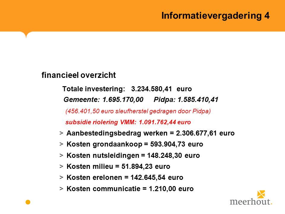 Informatievergadering 4 financieel overzicht Totale investering: 3.234.580,41 euro Gemeente: 1.695.170,00 Pidpa: 1.585.410,41 (456.401,50 euro sleufherstel gedragen door Pidpa) subsidie riolering VMM: 1.091.762,44 euro >Aanbestedingsbedrag werken = 2.306.677,61 euro >Kosten grondaankoop = 593.904,73 euro >Kosten nutsleidingen = 148.248,30 euro >Kosten milieu = 51.894,23 euro >Kosten erelonen = 142.645,54 euro >Kosten communicatie = 1.210,00 euro