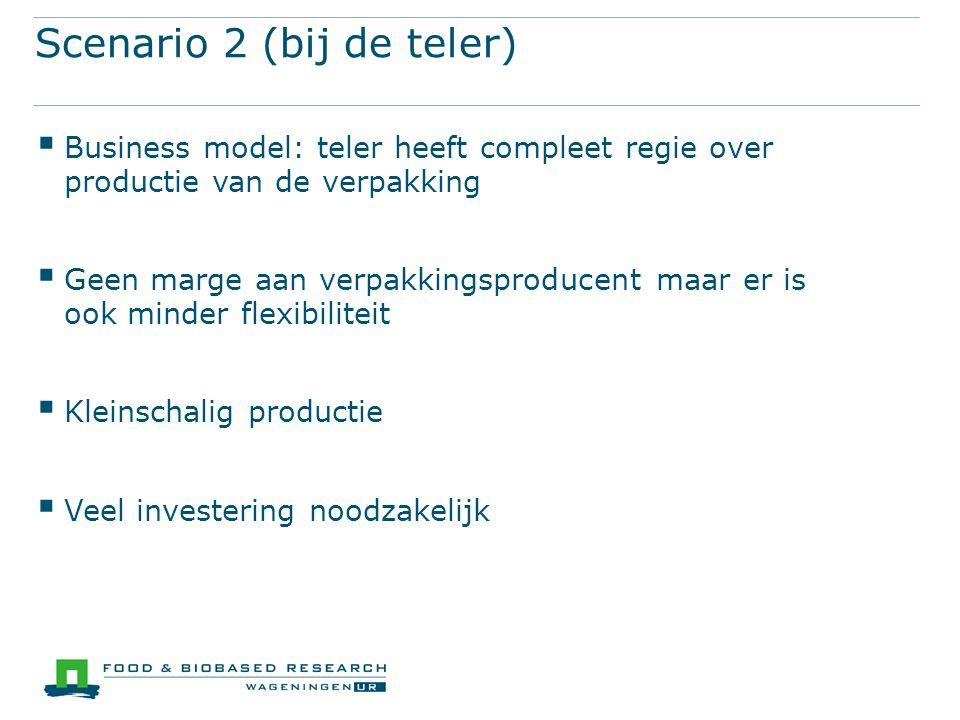 Scenario 2 (bij de teler)  Business model: teler heeft compleet regie over productie van de verpakking  Geen marge aan verpakkingsproducent maar er