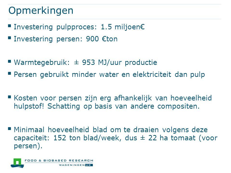 Opmerkingen  Investering pulpproces: 1.5 miljoen€  Investering persen: 900 €ton  Warmtegebruik: ± 953 MJ/uur productie  Persen gebruikt minder wat