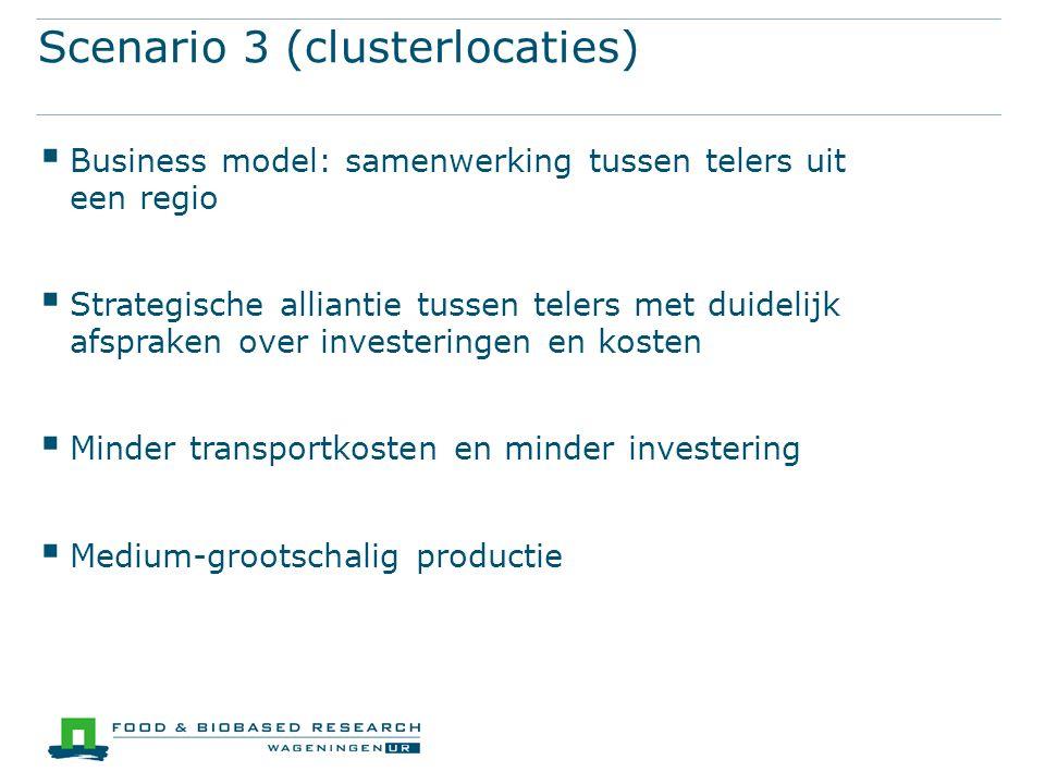 Scenario 3 (clusterlocaties)  Business model: samenwerking tussen telers uit een regio  Strategische alliantie tussen telers met duidelijk afspraken