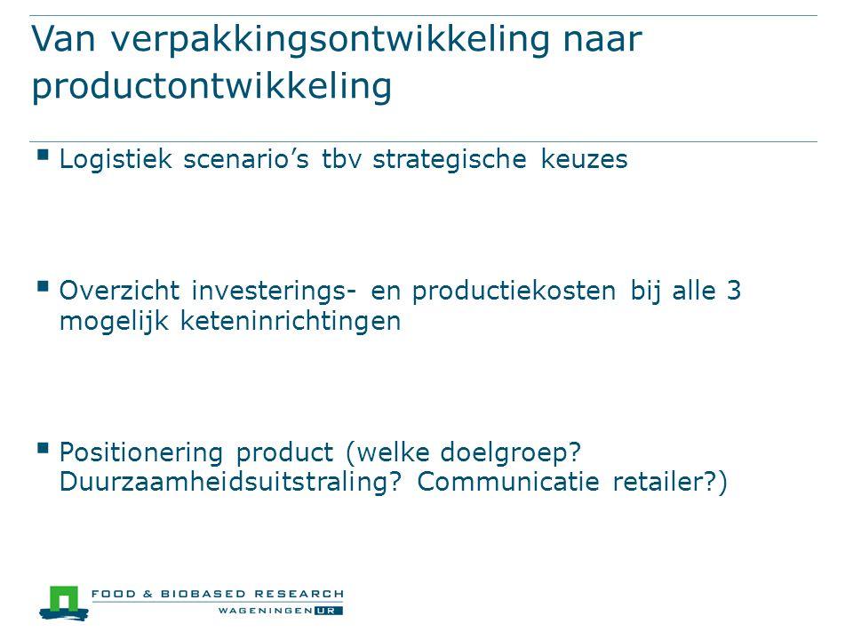 Van verpakkingsontwikkeling naar productontwikkeling  Logistiek scenario's tbv strategische keuzes  Overzicht investerings- en productiekosten bij a