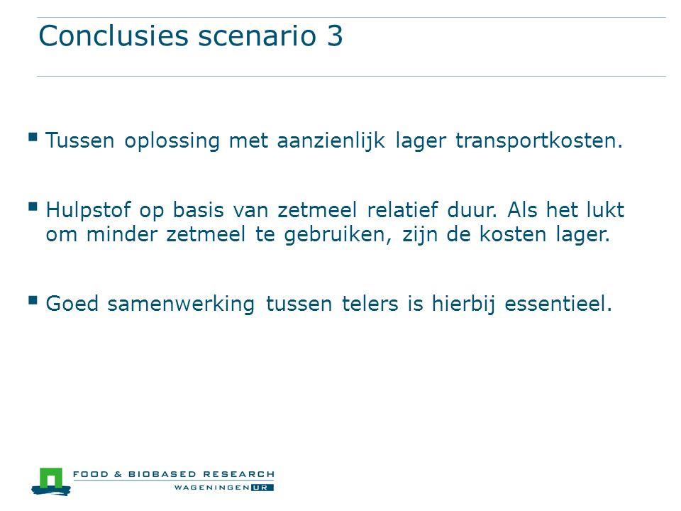 Conclusies scenario 3  Tussen oplossing met aanzienlijk lager transportkosten.  Hulpstof op basis van zetmeel relatief duur. Als het lukt om minder