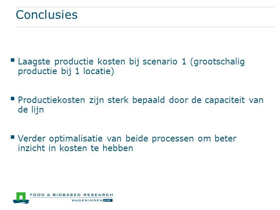 Conclusies  Laagste productie kosten bij scenario 1 (grootschalig productie bij 1 locatie)  Productiekosten zijn sterk bepaald door de capaciteit va