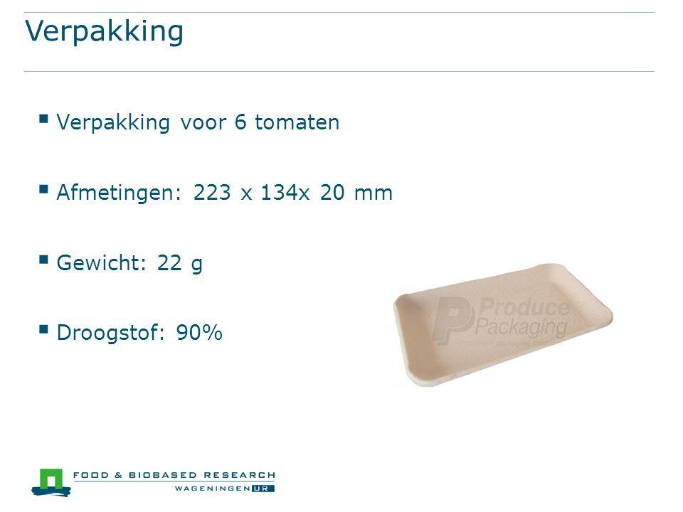 Verpakking  Verpakking voor 6 tomaten  Afmetingen: 223 x 134x 20 mm  Gewicht: 22 g  Droogstof: 90%