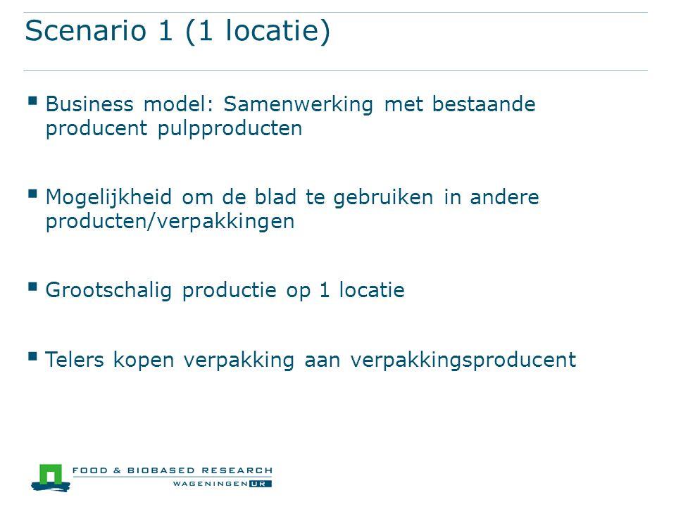 Scenario 1 (1 locatie)  Business model: Samenwerking met bestaande producent pulpproducten  Mogelijkheid om de blad te gebruiken in andere producten