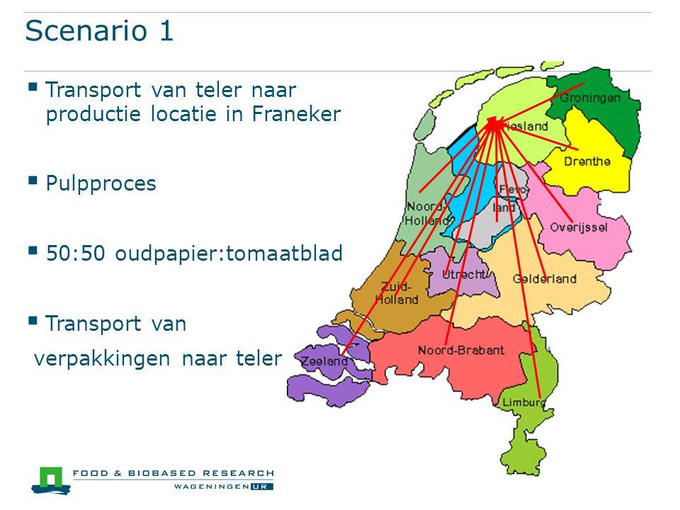 Scenario 1  Transport van teler naar productie locatie in Franeker  Pulpproces  50:50 oudpapier:tomaatblad  Transport van verpakkingen naar teler