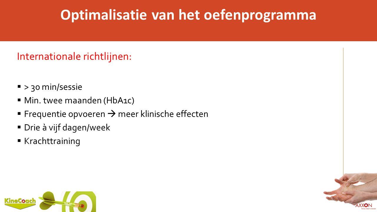 Optimalisatie van het oefenprogramma Internationale richtlijnen:  > 30 min/sessie  Min. twee maanden (HbA1c)  Frequentie opvoeren  meer klinische