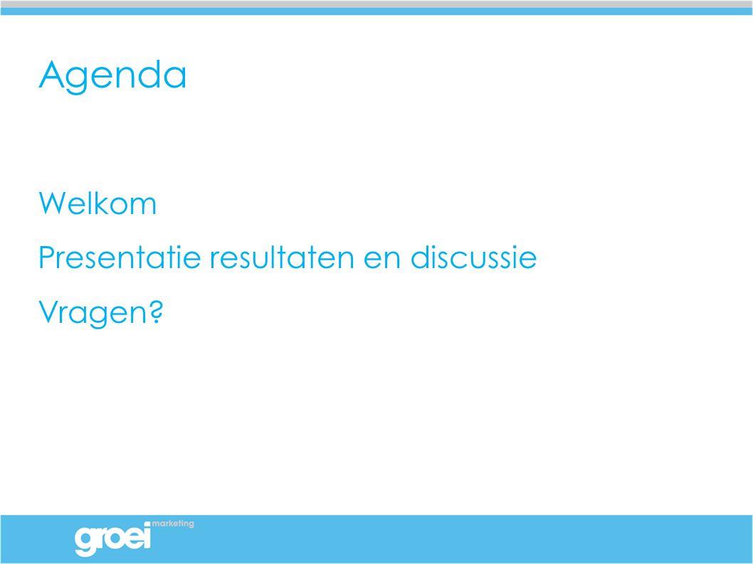 Agenda Welkom Presentatie resultaten en discussie Vragen