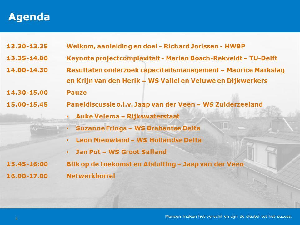 Agenda 13.30-13.35Welkom, aanleiding en doel - Richard Jorissen - HWBP 13.35-14.00Keynote projectcomplexiteit - Marian Bosch-Rekveldt – TU-Delft 14.00-14.30Resultaten onderzoek capaciteitsmanagement – Maurice Markslag en Krijn van den Herik – WS Vallei en Veluwe en Dijkwerkers 14.30-15.00Pauze 15.00-15.45Paneldiscussie o.l.v.