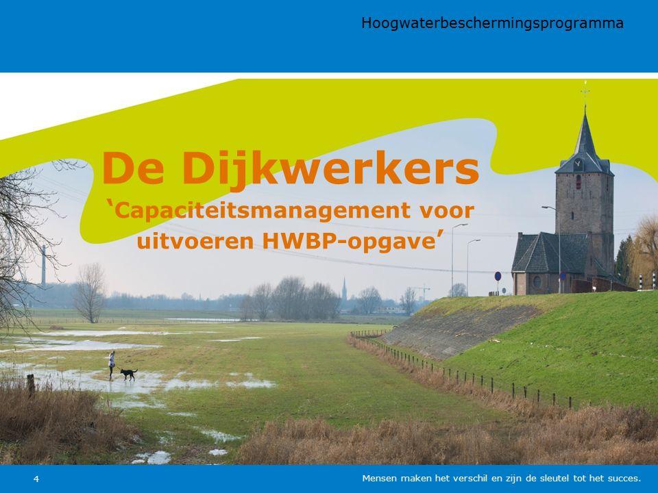 Workshop Review Alexanderhaven Roermond Hoogwaterbeschermingsprogramma Workshop Review Dijkversterking Roermond Alexanderhaven De Dijkwerkers ' Capaciteitsmanagement voor uitvoeren HWBP-opgave ' Mensen maken het verschil en zijn de sleutel tot het succes.