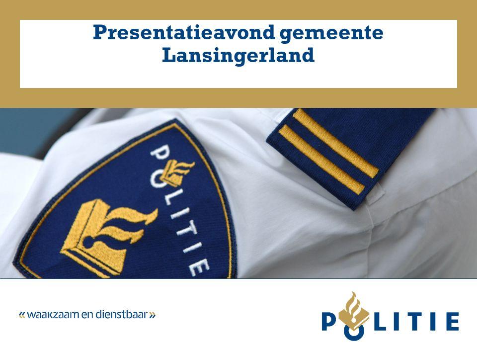 3 maart 2015Presentatieavond gemeente Lansingerland2 Inleiding  Stand van zaken Nationale Politie  Basisteam Midden Schieland  Bespreken resultaten