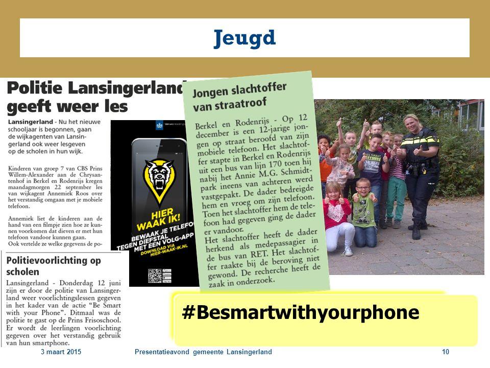 3 maart 2015Presentatieavond gemeente Lansingerland10 Jeugd #Besmartwithyourphone