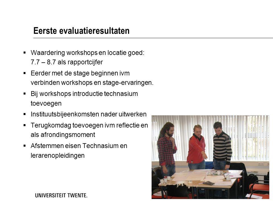Eerste evaluatieresultaten  Waardering workshops en locatie goed: 7.7 – 8.7 als rapportcijfer  Eerder met de stage beginnen ivm verbinden workshops