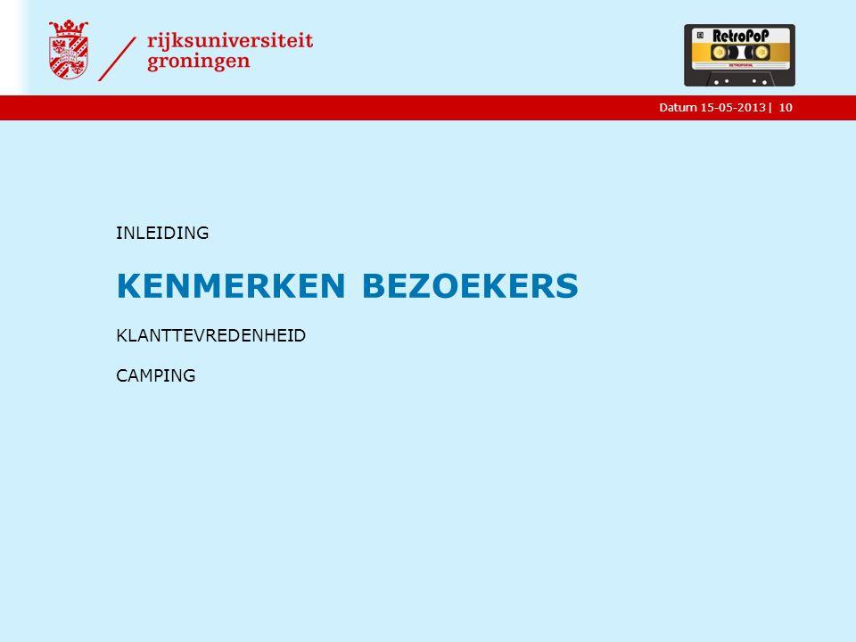 |Datum 15-05-2013 INLEIDING KENMERKEN BEZOEKERS KLANTTEVREDENHEID CAMPING 10