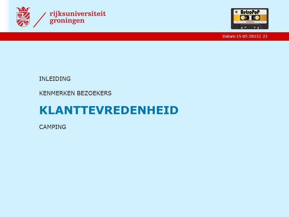 |Datum 15-05-2013 INLEIDING KENMERKEN BEZOEKERS KLANTTEVREDENHEID CAMPING 22