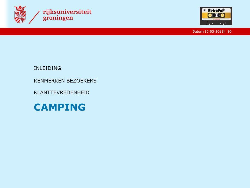 |Datum 15-05-2013 INLEIDING KENMERKEN BEZOEKERS KLANTTEVREDENHEID CAMPING 30