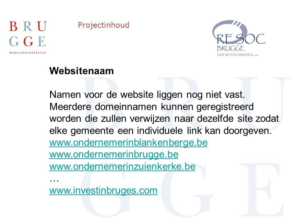 Projectinhoud Websitenaam Namen voor de website liggen nog niet vast.