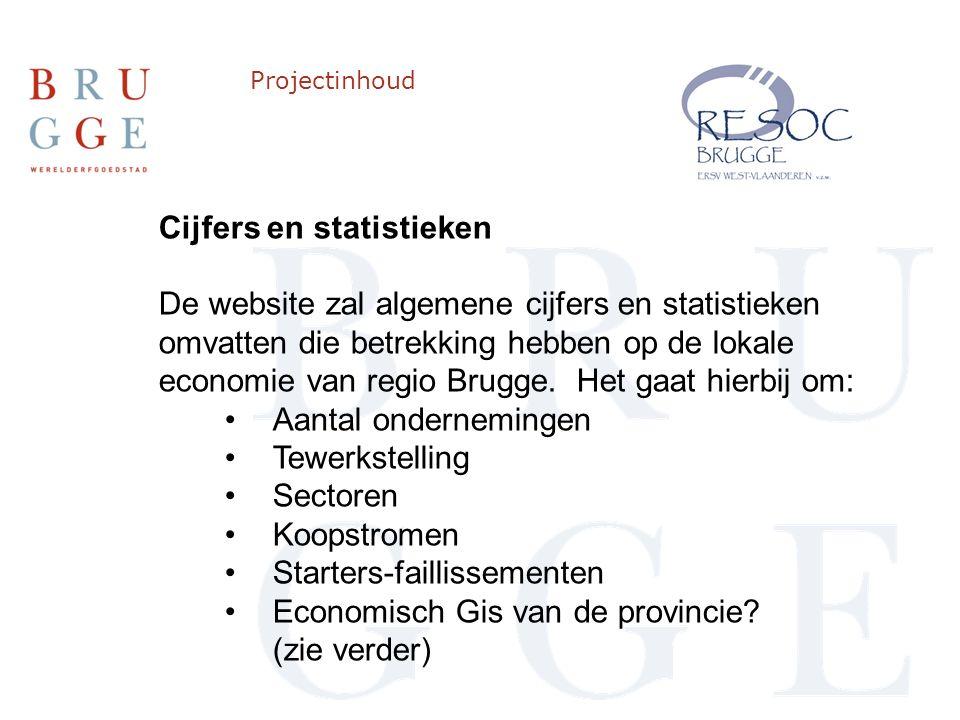 Projectinhoud Cijfers en statistieken De website zal algemene cijfers en statistieken omvatten die betrekking hebben op de lokale economie van regio Brugge.