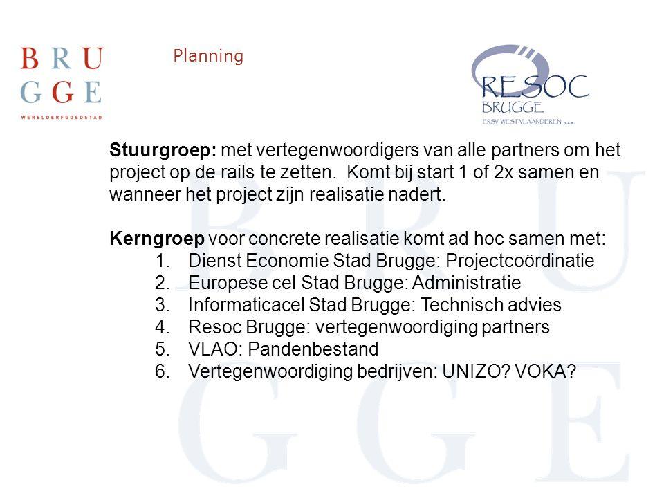 Planning Stuurgroep: met vertegenwoordigers van alle partners om het project op de rails te zetten.