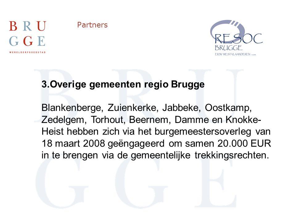 Partners 3.Overige gemeenten regio Brugge Blankenberge, Zuienkerke, Jabbeke, Oostkamp, Zedelgem, Torhout, Beernem, Damme en Knokke- Heist hebben zich via het burgemeestersoverleg van 18 maart 2008 geëngageerd om samen 20.000 EUR in te brengen via de gemeentelijke trekkingsrechten.
