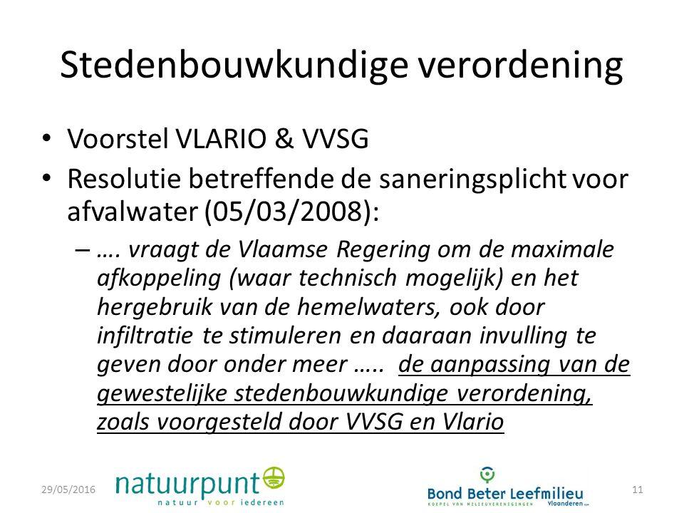 Stedenbouwkundige verordening Voorstel VLARIO & VVSG Resolutie betreffende de saneringsplicht voor afvalwater (05/03/2008): – ….